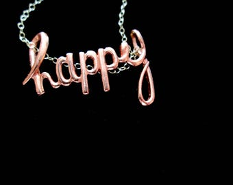 Copper Happy Slider Necklace