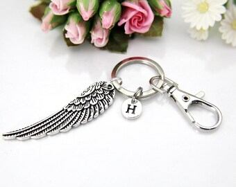 Guardian Angel Keychain, Silver Angel Wing Charm, Wing Charm, Feather Charm, Angel Wing Keychain, Personalized Gift, Best Friend Gift, K02