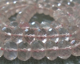 5-6mm, 1/2 strand, AAA Rose Quartz, Rose de France Micro Faceted Rondelles - 15% off
