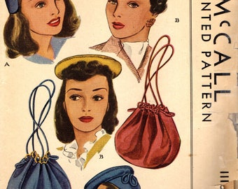 McCall 1115 HATS & BAGS 1940s ORIGINAL Not a Reproduction ©1944