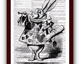 Alice in Wonderland Poster White Rabbit Print Wall Art  Alice in Wonderland Home Decor  Art Print upcycled dictionary pages  8x10