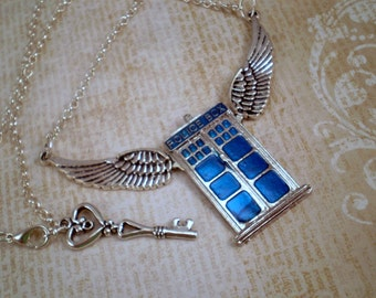 Winged Police Box Necklace, Whovian Necklace