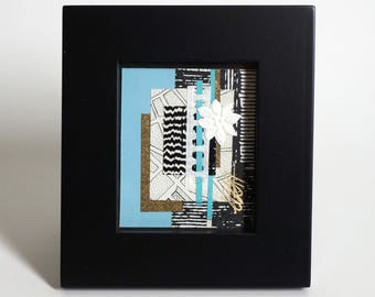 A Stitch of Blue - Original Mini Collage