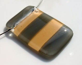 Fused Glass Pendant in Shades of Grey and Pink