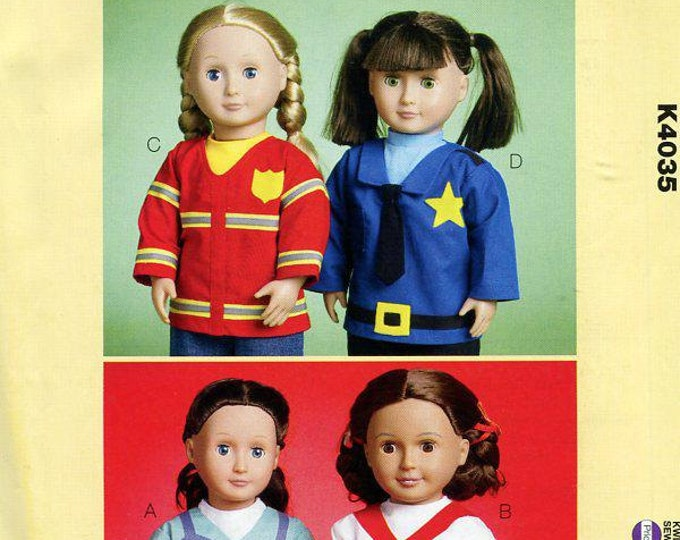 "Free Us Ship Kwik Sew 4035 18"" American Girl Tops Dr Nurse Chef Fireman Policeman Out of Print Sewing Pattern Doll Clothes Wardrobe"