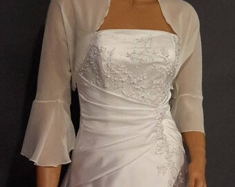 Chiffon bolero jacket 3/4 bell sleeve shrug wedding wrap bridal cover up CBA216 AVAILABLE IN ivory and 6 other colors. Small - Plus size!