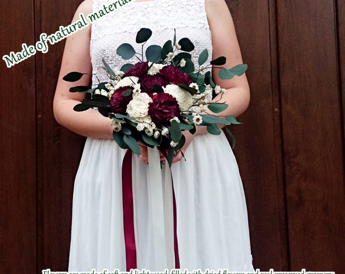 Small boho wedding bouquet preserved eucalyptus dark Burgundy wine white ivory dried flowers sola vintage style long ribbons bridesmaid