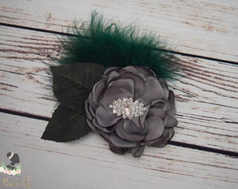 Handcrafted Dark Green and Silver Woodland Hair Clip - Rose Leaf Hair Clip - Feather Hair Accessory - Grey and Green Hair Barrette - Fancy