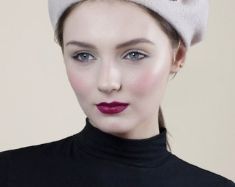 Wool Beret with Beading, Parisienne Style, Beatnik Fashion, Warm Winter Hat, Custom Colour Combinations