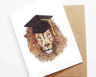 Graduation Card - Lion, Grad Card, College Graduation, High School Grad, Congrats Grad, Congrats Card, Cute Animal Card, Lion Card