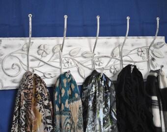 Scarf Holder, Wrought Iron Scarf Holder, Wooden Wall Decor, Wrought Iron Decor, Women Scarf Holder, Hat Belt Holder