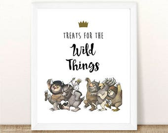 PRINTABLE Where the Wild Things Are, Treats For The Wild Things, First Birthday, Wild Things Birthday Party, Wild Rumpus, INSTANT DOWNLOAD