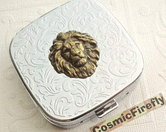 Leo Lion Pill Case Steampunk Pill Case Mirror Case Silver Pill Case Gothic Victorian Steampunk Accessories Antiqued Brass Lion Leo Gifts