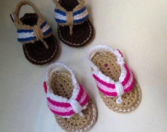 Baby Flip Flops, Baby Sandals, Cotton Baby Sandals, Crochet Baby Flip Flops, Summer Baby Shoes, Crochet Baby Sandles, Boy/Girl Sandles