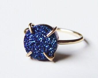 Titanium Druzy Gold Ring