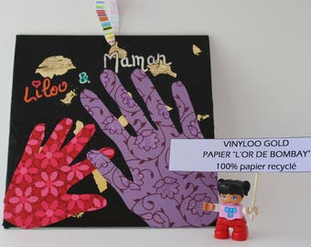 Wall decor on canvas square with handprints of you and your child!