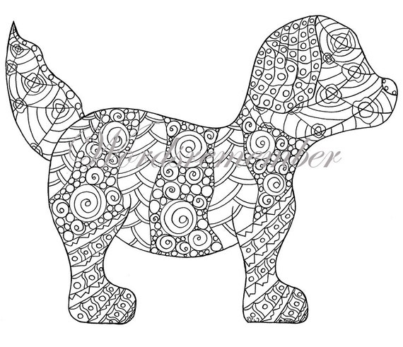 adult coloring page puppy coloring page colouring page kids color page instant download printable coloring zendoodle art art therapy