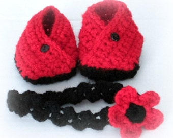 Origami Booties and Braided Headband with Flower