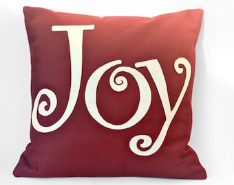 Joy Pillow Cover Appliquéd in Ruby Red and Antique White Eco-Felt 18 inches