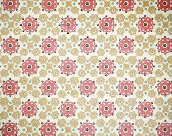 Retro Wallpaper by the Yard 70s Vintage Wallpaper - 1970s Gold and Persimmon Red Geometric Flowwers