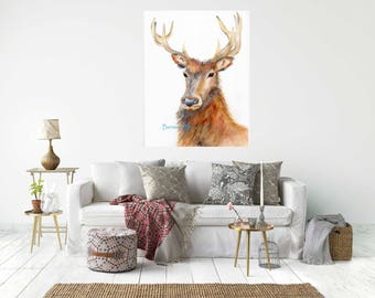 PROUD STAG,  Canvas Wrap Print From My Watercolour Art - Ready to hang