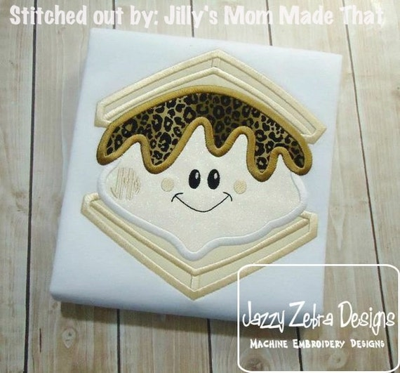 Smore with face Appliqué embroidery Design - smore appliqué design - s'more appliqué design - camping appliqué design - campfire appliqué