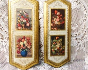 Florentia Gold Leaf Wood Picture-Empire Art- Gold Gilt-Made in Italy-Tole Florentine Art Pictures- Pair of Vintage Floral Pictures-Plaques