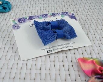 Bow Tie Hair Clip - Set of 2 - Denim Look