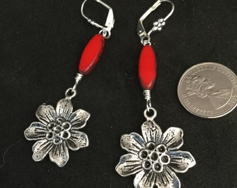 Silver Flower and red Picasso table cut beads earrings, red Czech Glass leverback drops,vintage style