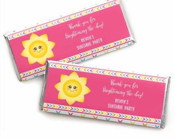 You Are My Sunshine - Candy Bar Wrapper Custom Party Favors - Baby Shower or Birthday Party - Personalized Wrappers and Foils - Set of 24
