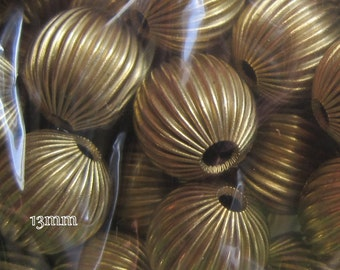 Round, Vintage, Corrugated, Brass, Patina, 13MM, Spacer, Bead,