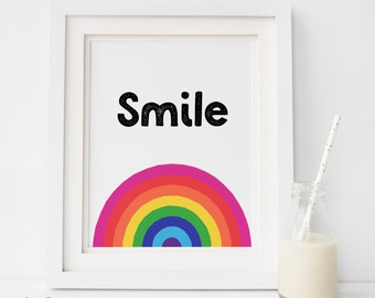 Nursery Quote Wall Art, Nursery Print, Smile rainbow Quote Print,Typography Wall Art, Instant Download Printable Art, nursery Download Print