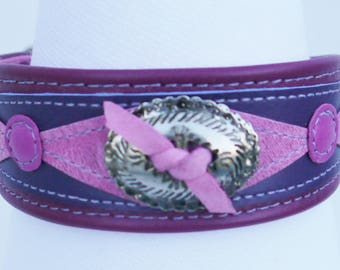 raspberry pink leather small dog collar