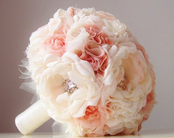 Fabric Wedding Bouquet, Brooch Bouquet, Vintage Bridal Bouquet, Vintage Wedding, Fabric Flower Bouquet - this is a 50% DEPOSIT ONLY