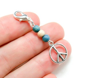 Sale Clearance Jewelry - Peace Charm. Wooden Beaded Peace Charm. Peace Sign Keychain Charm. BSC009