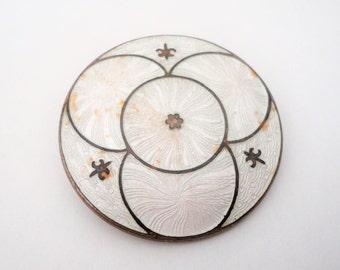 Antique White Guilloche Enamel Fleur De Lis Brooch Collectible Genuine Cloisonne Bronze