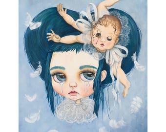Broken limited edition Blythe doll giclée print big eyes art
