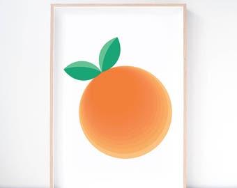 Clementine Orange Art Print. Orange Illustration. Fruit Print. Kitchen Wall Art. Nursery Art. Kids Decor. Wall Decor. Dining Room Art.