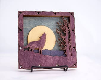 Purple Wolf - Art On Wood - Mountain Wall Art - Wolf Wall Decor - Nature Wall Decor - Cabin Wall Decor - Black Wolfl Art - Animal Wall Art