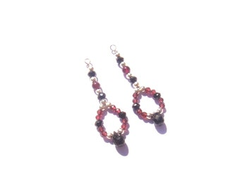 Spinel Garnet and black: pair of handmade pendants hand 3.5 cm x 1.2 cm wide max