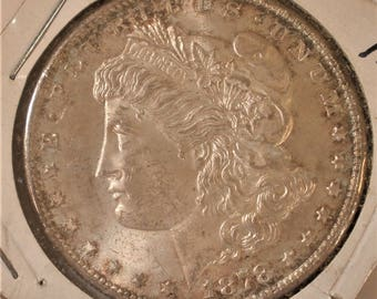 Morgan Silver Dollar / Dated 1878-S /  AU to UNC