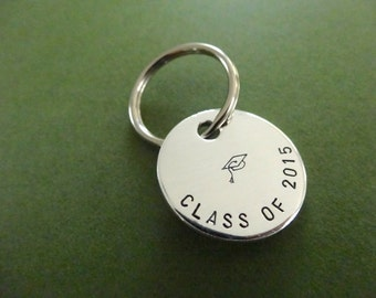 Graduation Keychain - Class of 2017 Keychain - Class of 2018 - Hand stamped Circle Key Chain Accessory