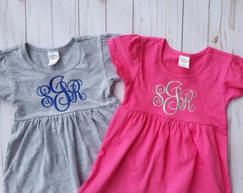 Monogrammed girl's dress, pink dress, cotton grey dress,white dress, newborn dress, toddler dress, birthday dress