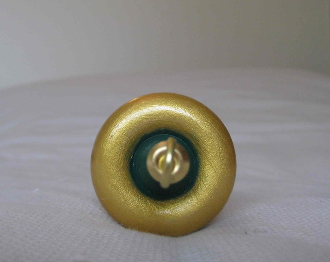 Woolpops Green and Gold Handpainted Wooden Top Whorl Drop Spindle