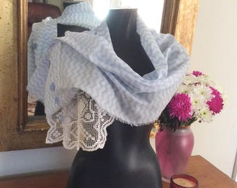 Recycled Doily Scarf Pale Blue and White