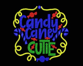 Candy Cane Cutie Embroidery Designs - Instant Download Filled Stitches Design 1043