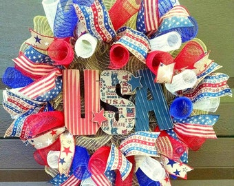 Summer Wreath for Front Door Wreath, Patriotic Wreath, 4th of July Wreath, 4th of July Decor, Patriotic Decor, Country Home Decor, Americana