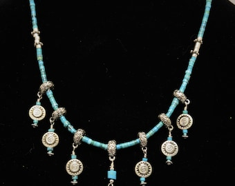 """Swingy 22"""" Turquoise Necklace"""