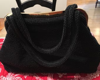 Black Beaded Two Handles Purse