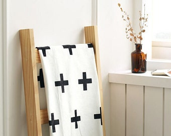 "Cross Smooth Minky Fabric - Black Cross on White - 59"" Wide - By the Yard 84429"